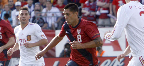 Clint Dempsey in a June 4 friendly between the U.S. and Spain at Gillette Stadium. (Photo: Chris Aduama/aduama.com)