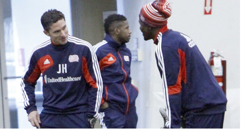 Head coach Jay Heaps chats with skipper Shalrie Joseph during preseason training (Photo: Chris Aduama/aduama.com).