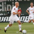 American Michael Bradley scores as AS Roma defeats Liverpool FC 2-1 at Fenway Park.