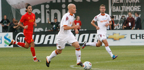 American international Michael Bradley scored his first goal for Roma in their preseason win over Liverpool on Wednesday at Fenway Park. (Photo: Chris Aduama/aduama.com).