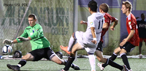 Ottawa's Alex Rodriguez scored the game winner past Portland's Terrance Dieterich in the 106th minute. (Photo: USL PDL)
