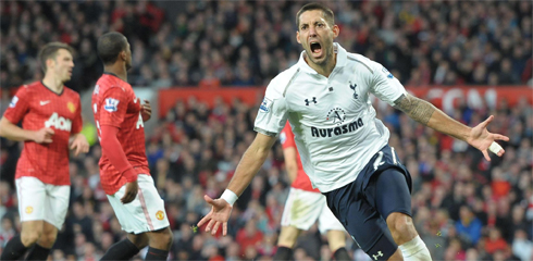 Clint Dempsey celebrates his first goal in a Tottenham uniform, a game winner against Manchester United in September. (Photo: Tottenham Hotspur)