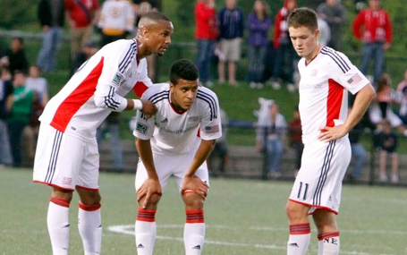 Darrius Barnes, Gabe Latigue and Kelyn Rowe discuss an upcoming free kick during last week's Open Cup game against New York. (Photo: Chris Aduama/aduama.com)