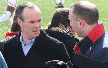 """Revolution general manager Michael Burns, seen here talking with club president Brian Bilello prior to the Mar. 23 match vs. Sporting K.C., hopes Diego Fagundez plays in New England """"for a long, long time."""" (Photo: Kari Heistad/capturedimages.biz)"""