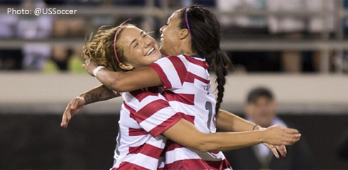 Hanson, Mass. native/BC Alum Kristie Mewis celebrates here first international goal with Boston Breakers forward Sydney Leroux. (Photo: @USSoccer)