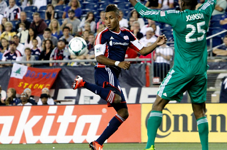 Juan Agudelo deft touch off a Chris Tierney long ball set up a sublime 54th minute goal in Saturday's 2-0 win over Chicago. (Photo: Chris Aduama/aduama.com)