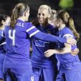 Lianne Sanderson's brace helped send the Breakers to a 3-2 win over Sky Blue on Sunday.
