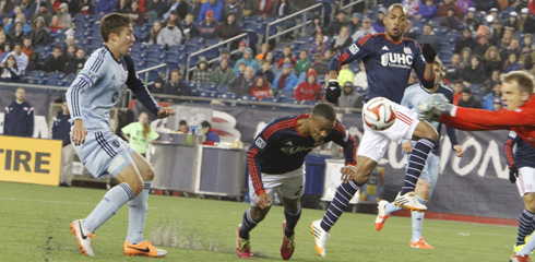 Darrius Barnes and Teal Bunbury combined on New England's first goal of the night. (Photo credit: Chris Aduama/aduamaphotography.com)
