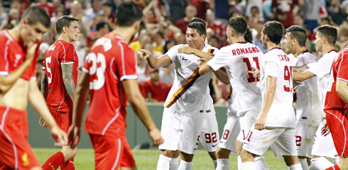 90th minute own goal gives AS Roma preseason victory over Liverpool FC at Fenway Park.