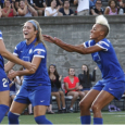 Rachel Wood and Heather O'Reilly both scored to send the Breakers to a 2-0 win over the Thorns on Sunday.