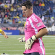Revs keeper makes six big saves to help New England grab three points in 2-1 win over Columbus.